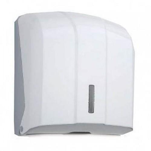 """Диспенсер для бумажных полотенец V-сложение (белый пластик) """"ёлочка"""" 300 листов"""