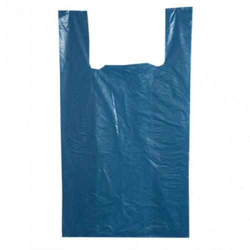 """Пакет """"майка"""" (30+16-фальцы)х60см 15мкр голубой"""