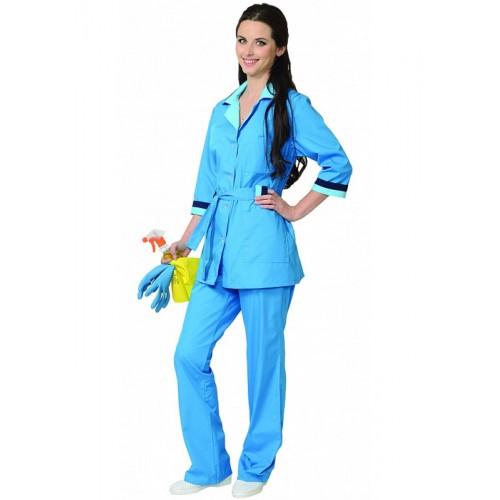"Костюм ""ФЛОРА"" женский: куртка, брюки тёмно-голубой"
