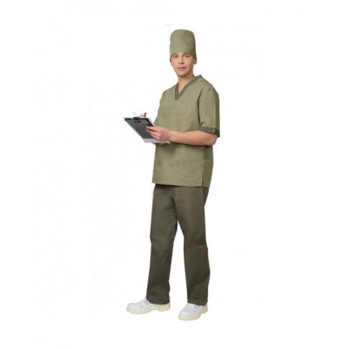 """Костюм """"РЕАЛ"""" мужской: куртка, брюки, колпак оливковый с хаки"""