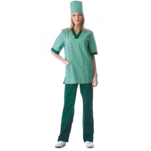 """Костюм """"СОФИЯ"""" женский: куртка, брюки, колпак светлая мята с тёмно-зелёным"""