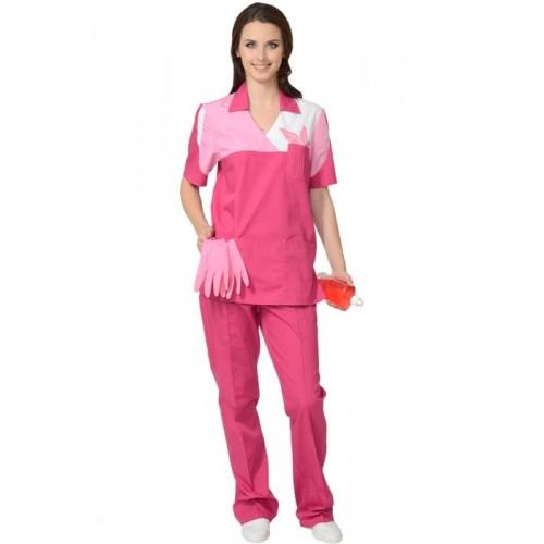 """Костюм """"ЛОТОС"""" женский: куртка, брюки сливовый с тепло-розовым"""