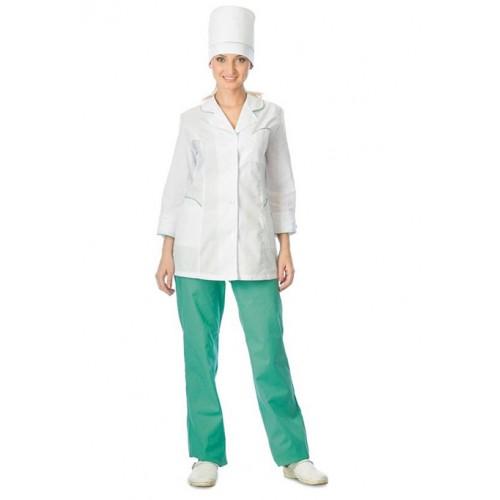 "Костюм ""ЖАСМИН"" женский: куртка, брюки, колпак белый с салатовым"