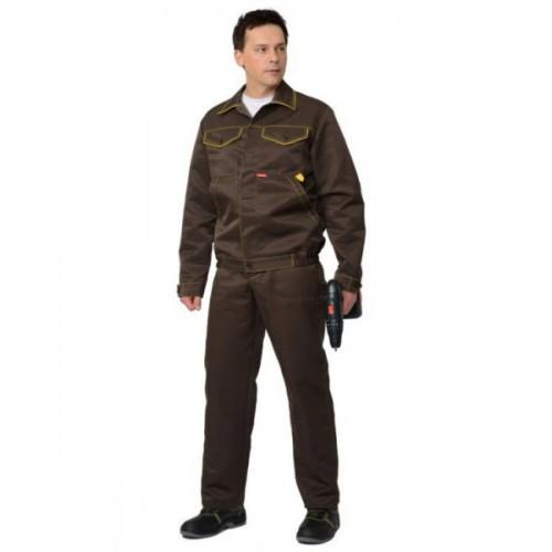 "Костюм ""ДОКЕР"" летний: куртка кор., полукомбинезон коричневый с желтым тканьCROWN-230"