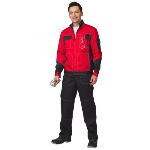 """Костюм """"ГРАНД"""" летний: куртка, полукомбинезон чёрный с красным"""