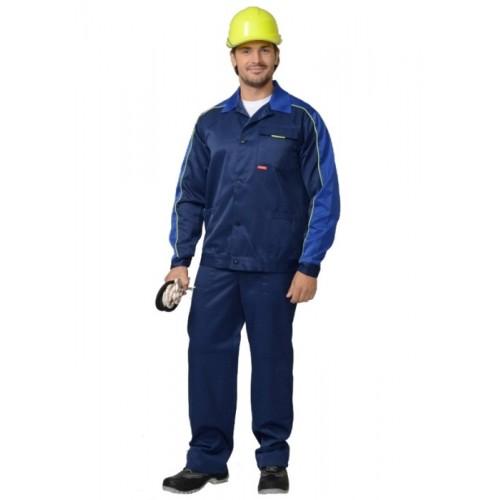 """Костюм """"СПЕЦИАЛИСТ"""":куртка кор., брюки темно-синий с васильковым и с кантом"""