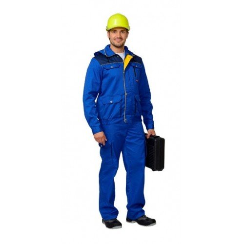 "Костюм ""ТИТАН"": куртка кор., брюки васильковый с темно-син. и желтым (тк.Орион)"