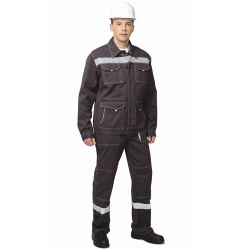 """Костюм """"ТРОЯ"""": куртка, брюки т.коричневый с СОП"""