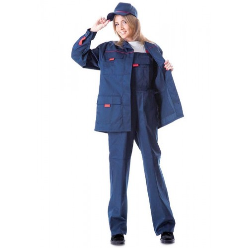 "Костюм ""УДАРНИЦА"" женский:куртка, п/комб.тёмно-синий с красным кантом тк.CROWN-230"