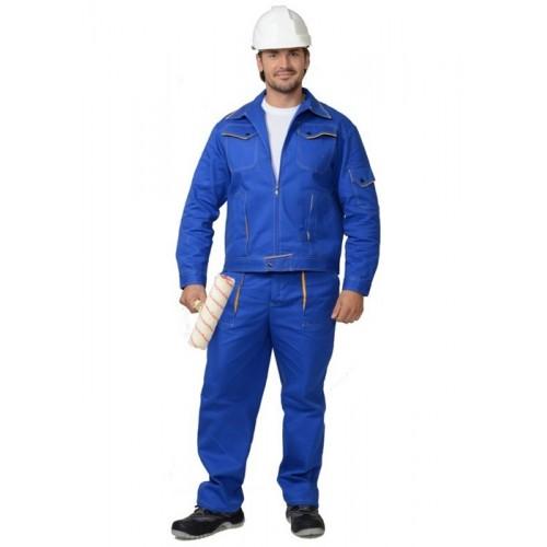 "Костюм ""Универсал"": куртка, брюки (100%-х/б. пл.250 г/м2) васильковый с желтым кантом"