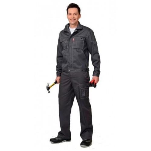 """Костюм """"ПЛУТОН"""": куртка, брюки тёмно-серый со светло-серой отстрочкой (с/з от 300 шт.)"""