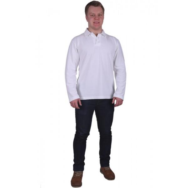 3dd3db4c43fa Рубашка-поло с длинным рукавом белая