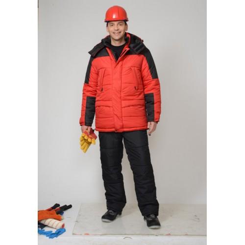 """Костюм """"ЕВРОПА"""" зимний: куртка дл., брюки красный с черным"""