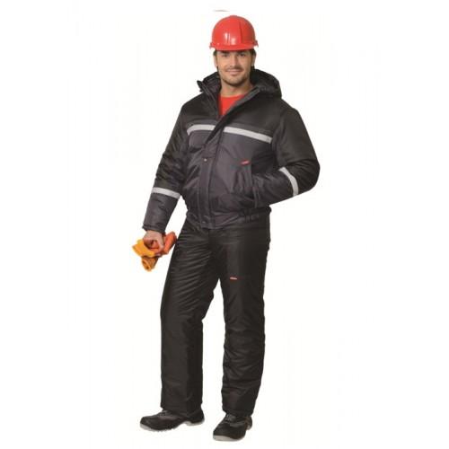 """Костюм """"ГАСТАРБАЙТЕР-2"""" зимний: куртка, брюки тёмно-серый с чёрным и СОП"""