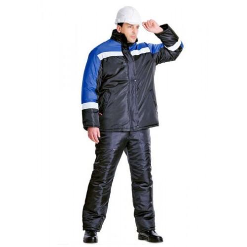 """Костюм """"ГАСТАРБАЙТЕР"""" зимний: куртка, брюки чёрный с васильковым и СОП"""