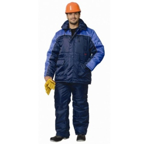 "Костюм ""БАЛТИКА"": куртка дл., полукомбинезон тёмно-синий с васильковым"