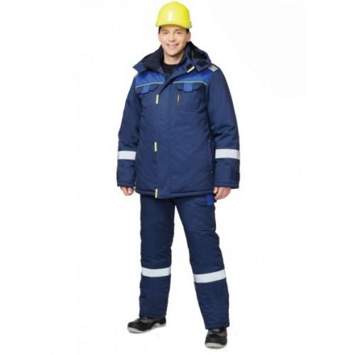 """Костюм """"БОСТОН"""" зимний: куртка дл., п/к т.синий с вас. и чёрной отд."""