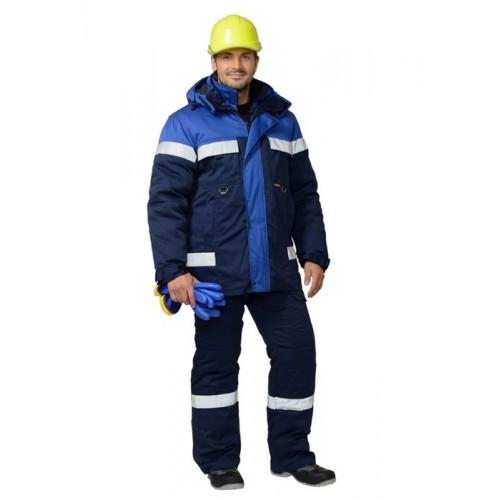 """Костюм """"СУРГУТ"""" зимний: куртка, полукомбинезон тёмно-синий с васильковым и СОП"""