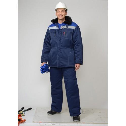 """Костюм """"ЛЕГИОНЕР"""": куртка дл., брюки темно-синий с васильковой кокеткой"""
