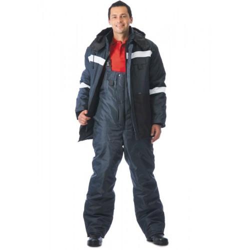 """Костюм """"МЕТЕОР"""": куртка дл., полукомбинезон синий с чёрным и СОП"""